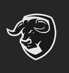 Head of a bull monochrome logo vector