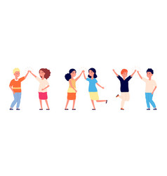 high five cheers children kids hello or boy and vector image