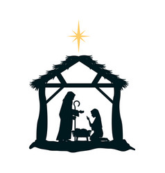 Holy family silhouette in stable christmas vector