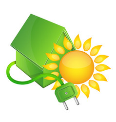 house bio and sun vector image