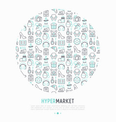 Hypermarket concept in circle with thin line icons vector