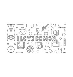 i love design outline horizontal banner vector image