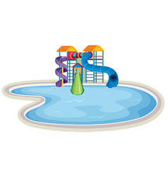 Isolated water park on white background vector