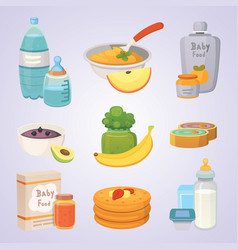 juices and purees from green apples and broccoli vector image
