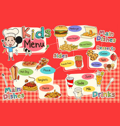 Kids meal menu vector