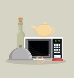 kitchen equipment set icons vector image