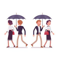 lady and gentleman walking together under umbrella vector image