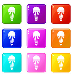 Led bulb icons 9 set vector