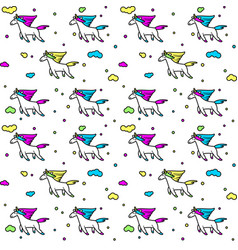 Magic unicorns in clouds seamless pattern for vector