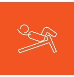 Man doing crunches on incline bench line icon vector