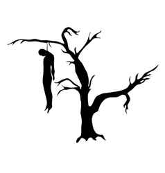 Man hanged from a dead tree vector