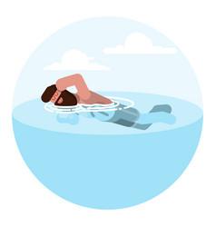 man sketch swimming vector image