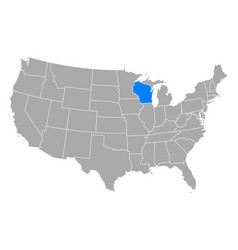 map wisconsin in usa vector image