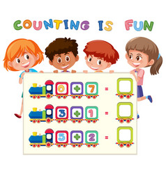 math counting number worksheet vector image