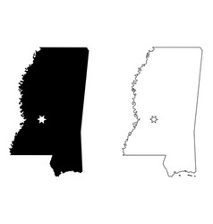 mississippi ms state map usa with capital city vector image