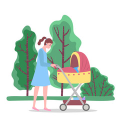 Mother with child in babuggy walking in park vector