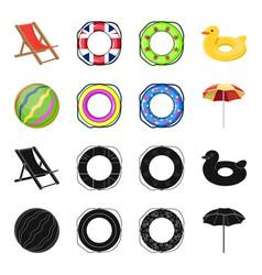 Multicolored swimming circle blackcartoon icons vector
