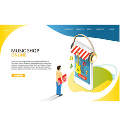 music online shop landing page website vector image