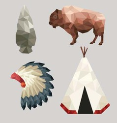 Native american icons vector