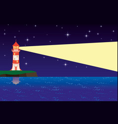 Night landscape with a lighthouse on shore vector