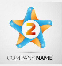 Number two logo symbol in the colorful star on vector