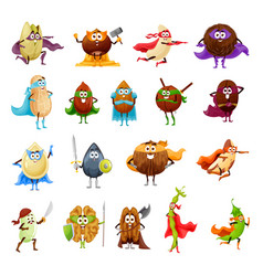Nut seed and bean superhero cartoon characters vector