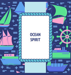 Ocean spirit concept banner with ship icons in vector