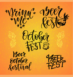 october fest calligraphic set beer fest drink me vector image