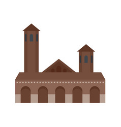 Old building icon flat style vector