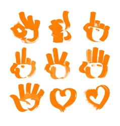 Orange brush strokes numerals hands heart and ok vector