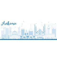 Outline Ankara Skyline with Blue Buildings vector image