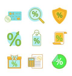 percents color icons set vector image