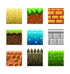 Pixels textures for games vector