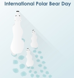 Polar White bear with cubs vector image