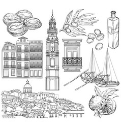portugal drawings set vector image