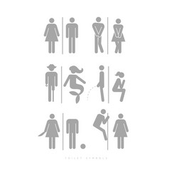Poster toilet symbols male and female silhouettes vector