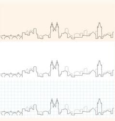 prague hand drawn skyline vector image