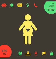 Pregnant woman icon with heart vector