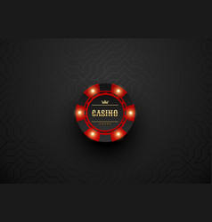 red casino poker chip with luminous light vector image
