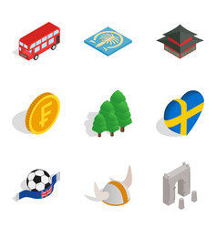 Region of the planet icons set isometric style vector