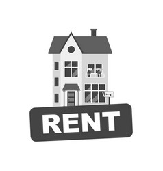 rent sign with house home for rental in flat style vector image