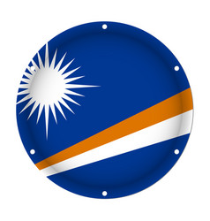 Round metallic flag marshall islands screw holes vector
