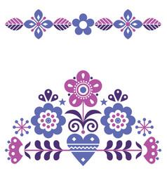 Scandinavian cute folk pink and purple gree vector