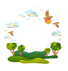 Scenic landscape meadows and trees cloudy sky vector