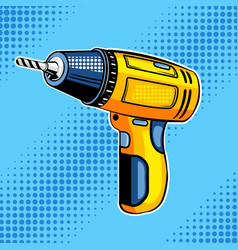 screw gun comic book style vector image