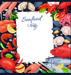 Seafood menu template for recipe vector