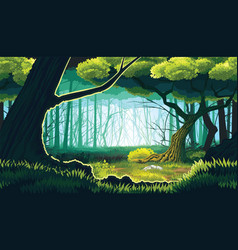 Seamless background landscape with deep forest vector