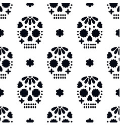 seamless pattern with decorative skulls dia de vector image