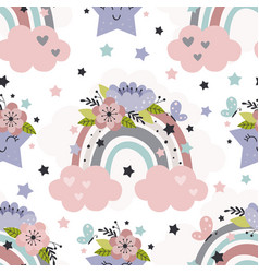 seamless pattern with rainbow and flowers vector image