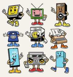 Set gadget and electronic character mascot vector